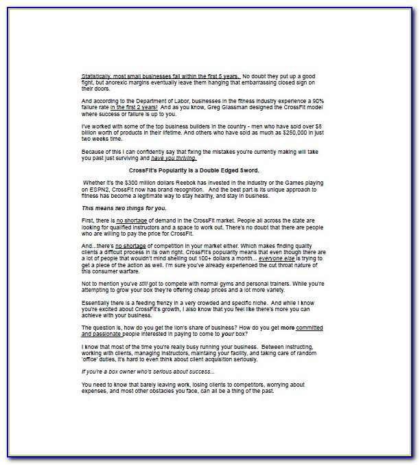 Gym Business Plan Template Doc