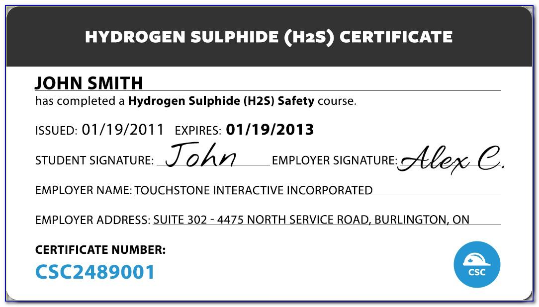 H2s Certification Card Template