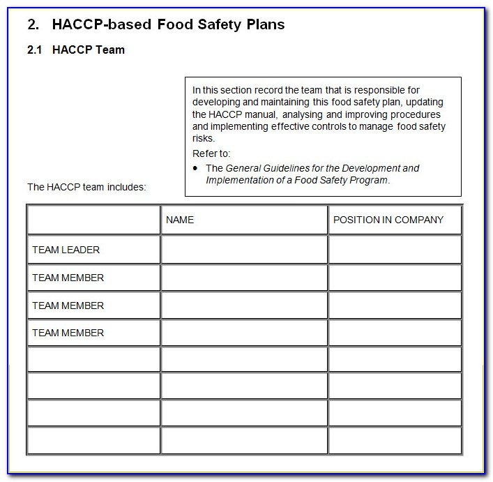 Haccp Process Hazard Analysis Template