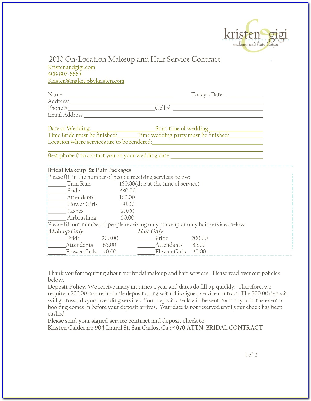 Hair And Makeup Contract Template Word