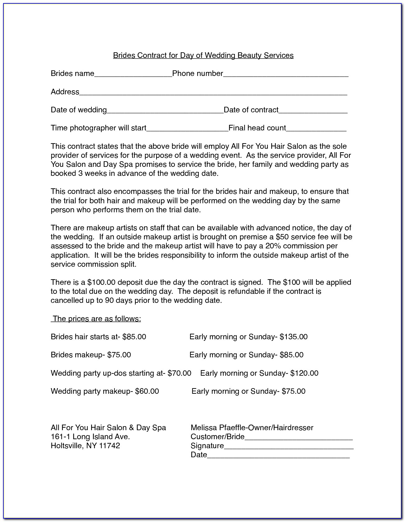 Hair Stylist Contract Examples