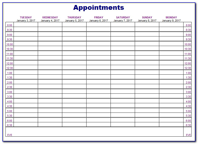 Hairdressing Appointment Book Template