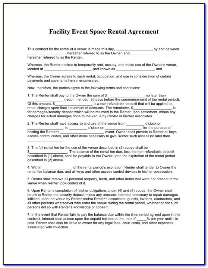 Hall Rental Agreement Contract