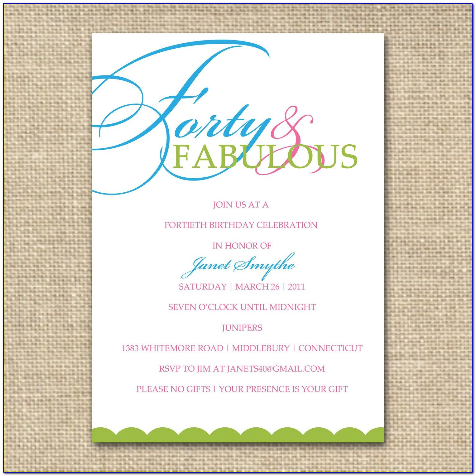 Happy 40th Birthday Invitation Templates