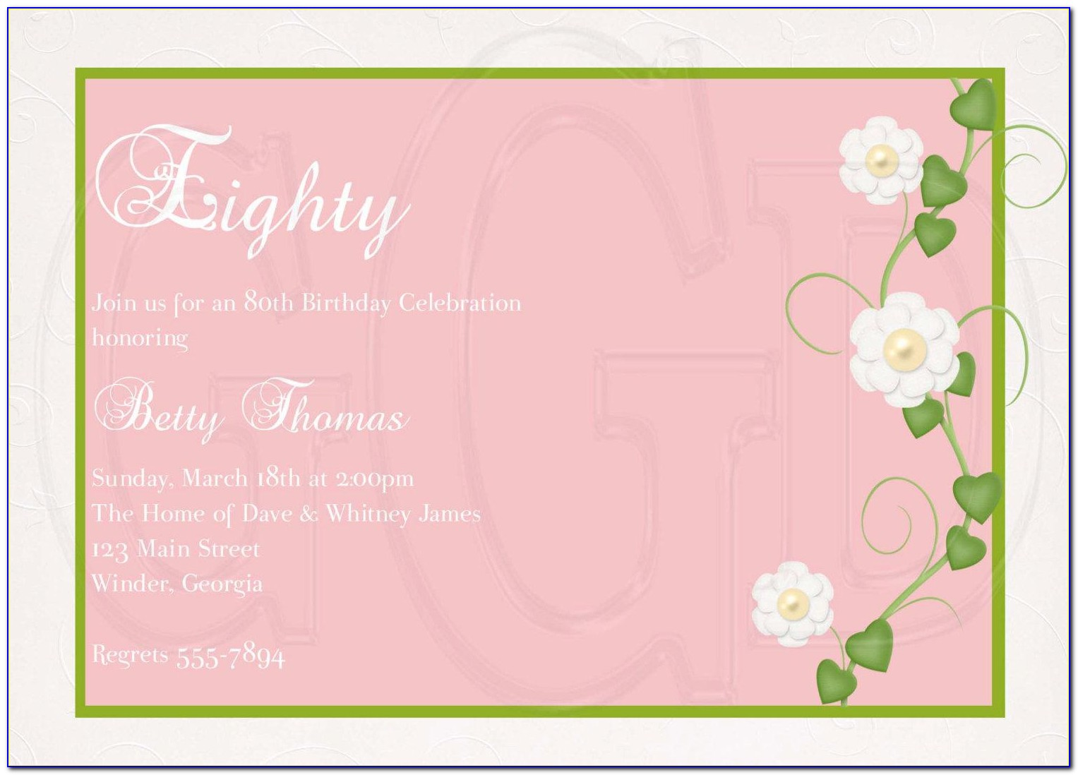 Happy 80th Birthday Invitation Templates