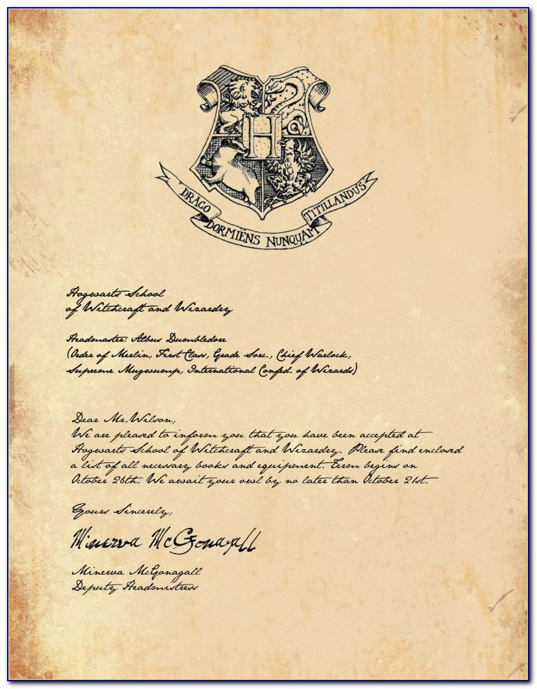 Harry Potter Hogwarts Letter Free Template