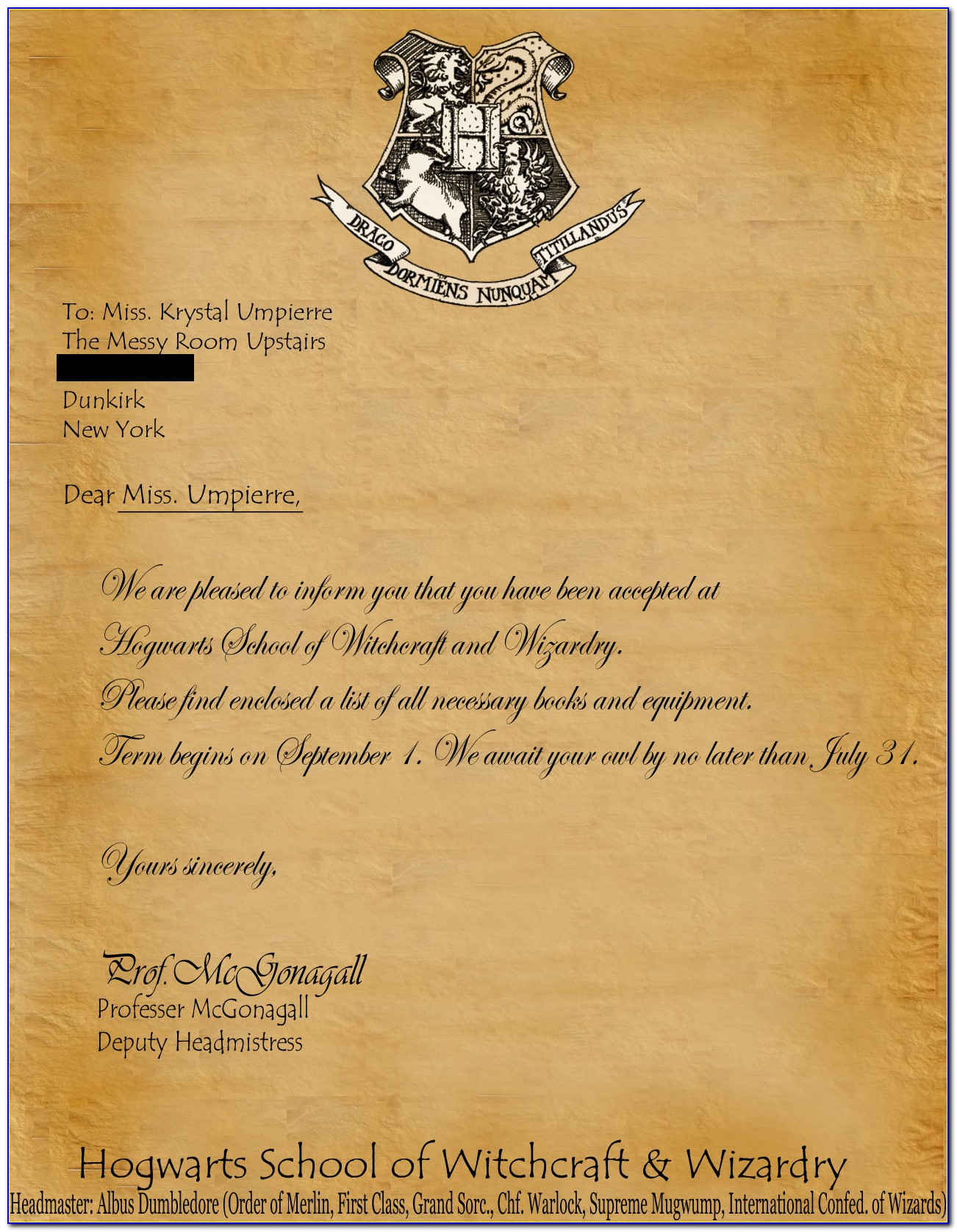 Harry Potter Hogwarts Letter Wording