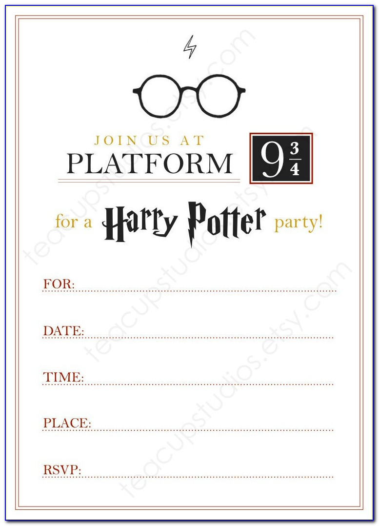 Harry Potter Invitation Card Template