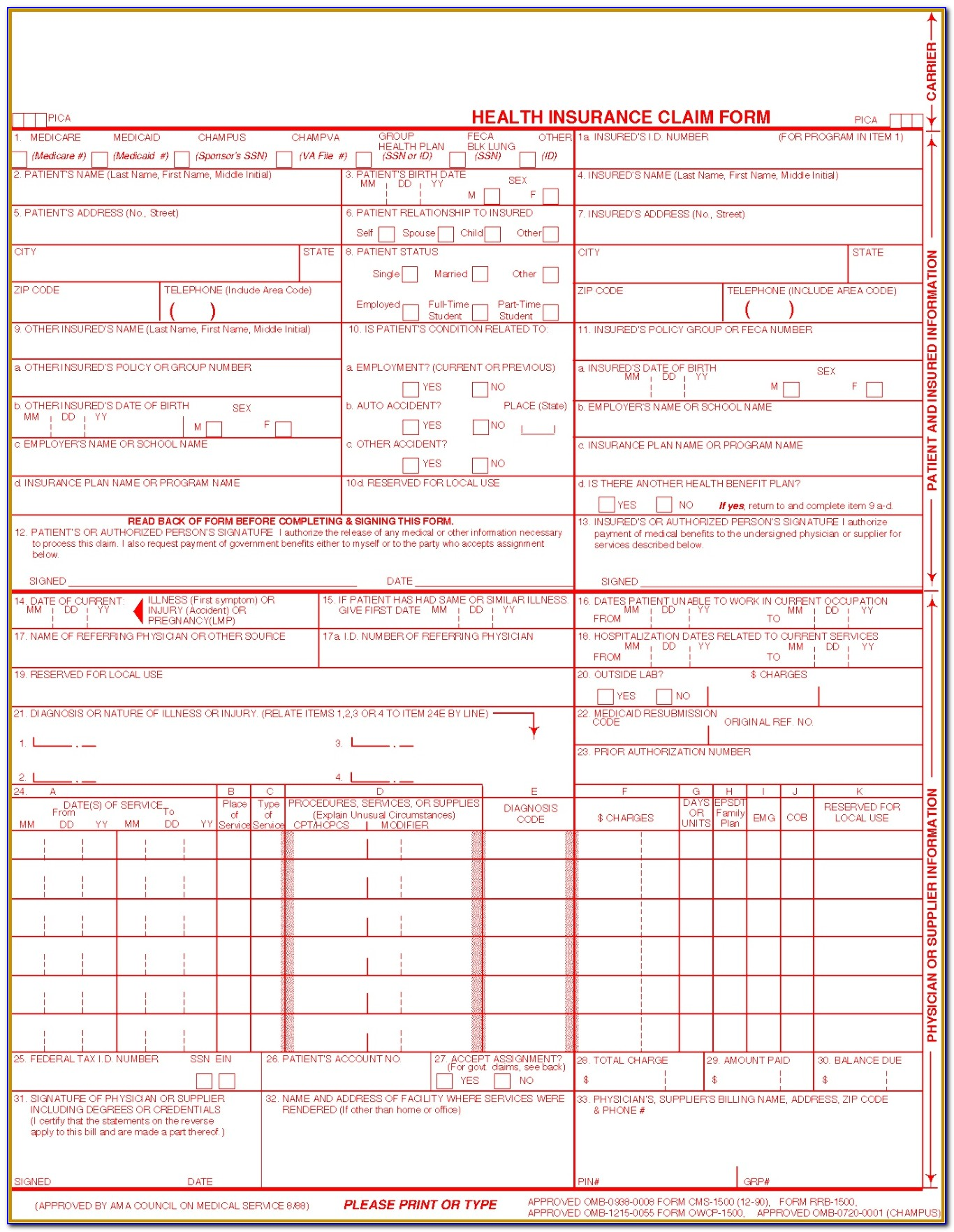 Universal Claim Form Template 91817 Hcfa 1500 ? Medical Billing Wiki ? Claims Med