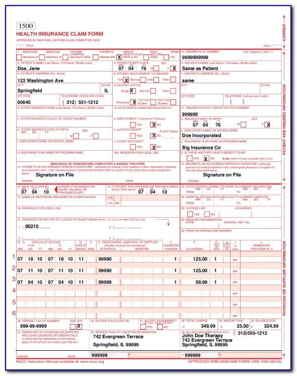 Health Insurance Claim Form 1500 Example