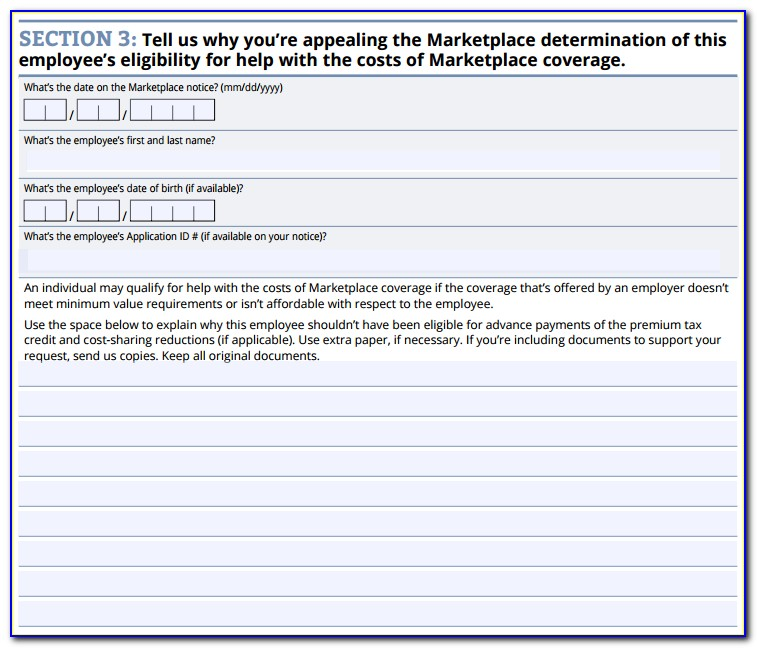 Health Insurance Marketplace Employer Appeal Request Form