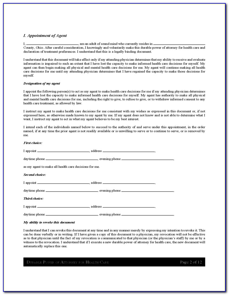 Health Power Of Attorney Forms Wisconsin