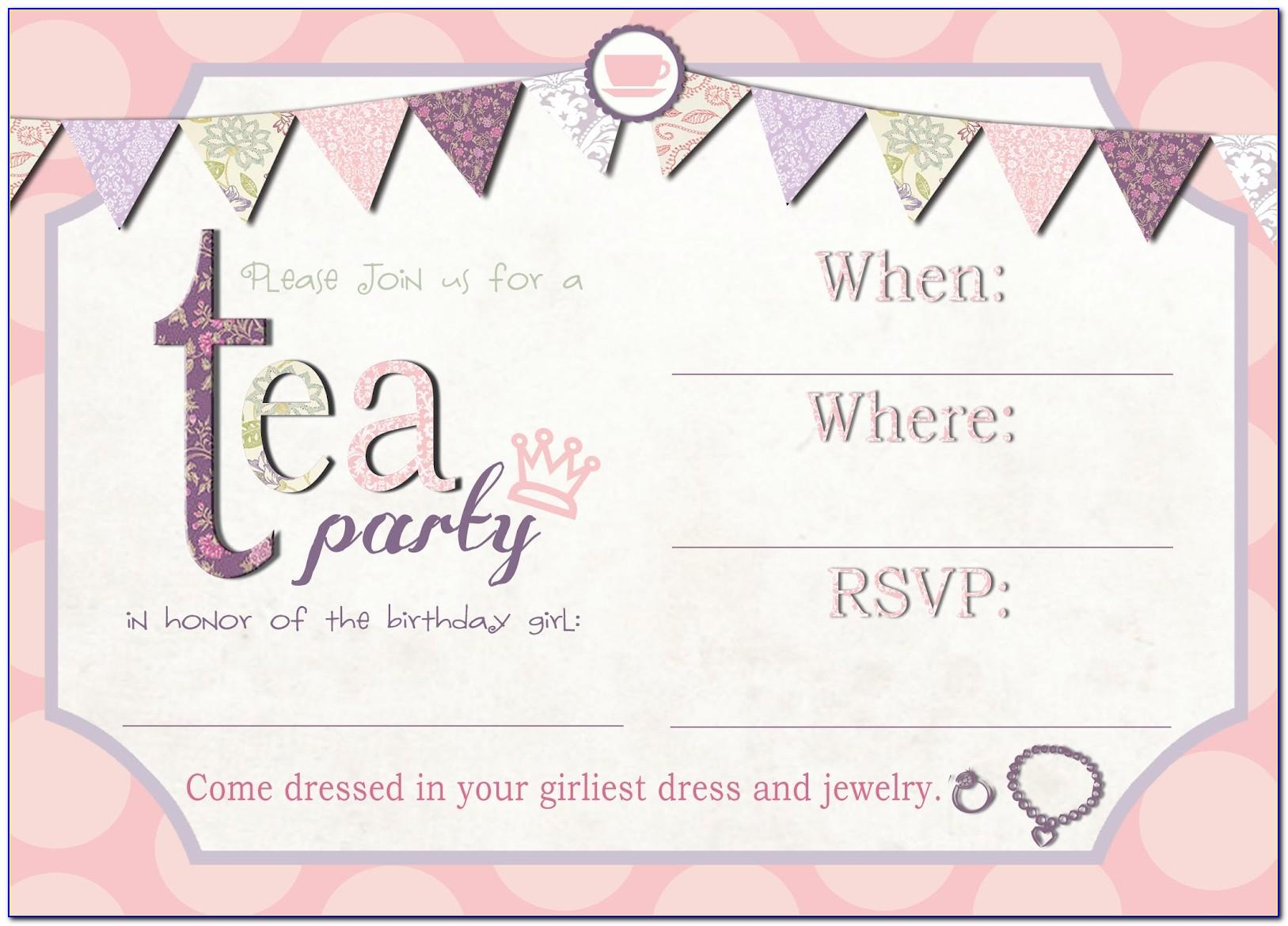 High Tea Party Invitation Template Free