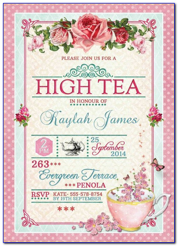 High Tea Party Invitation Template