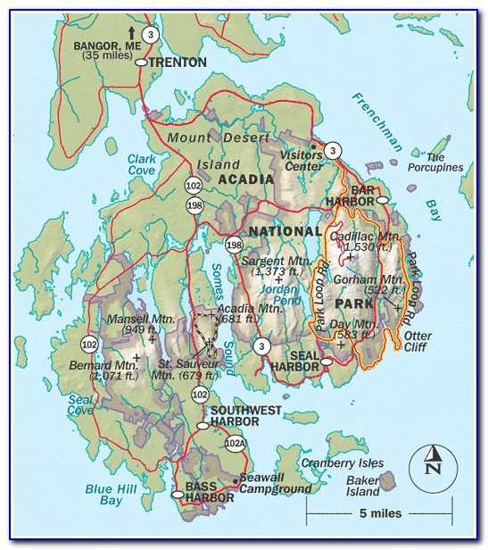 Hiking Trails Acadia National Park Map