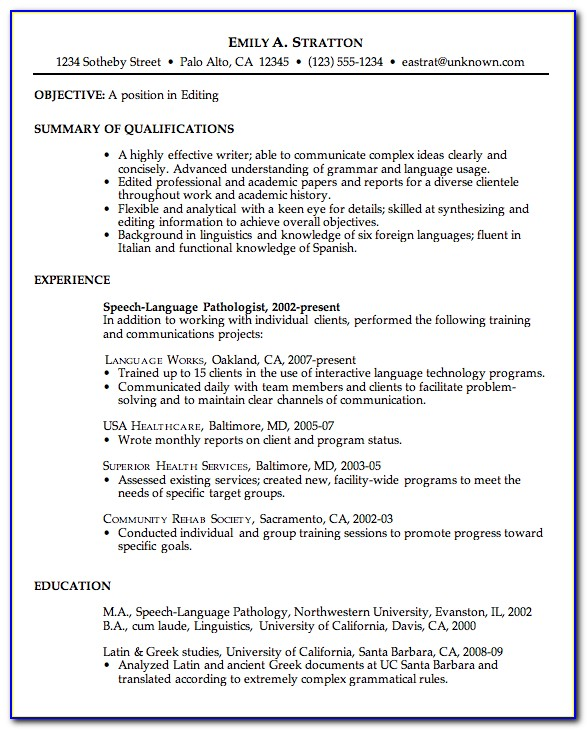 Hints For A Good Resume