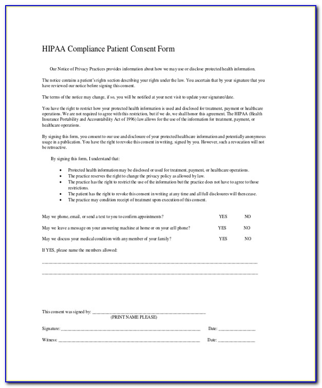 Hipaa Privacy Forms For Employees