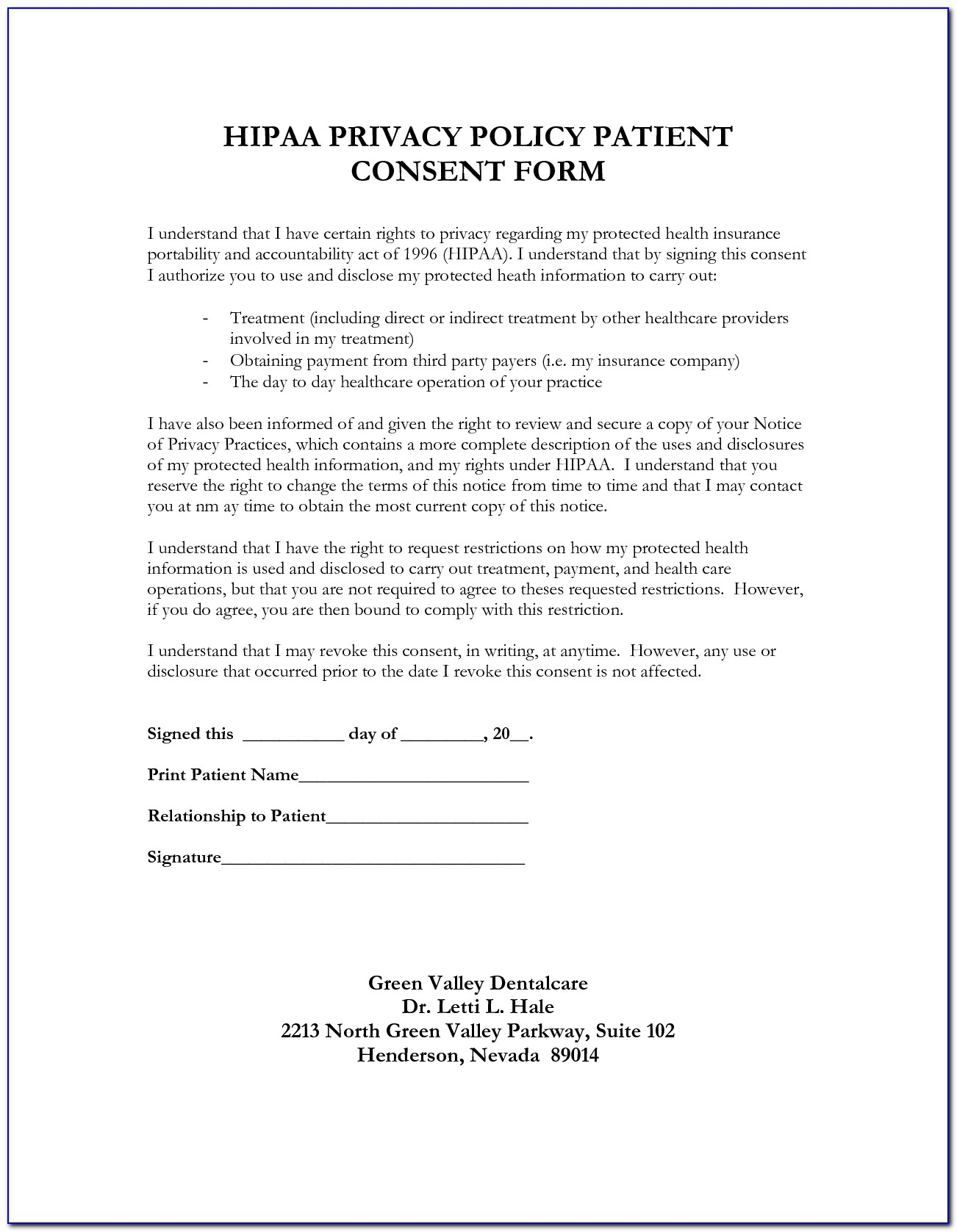 Hipaa Privacy Policy Template Word