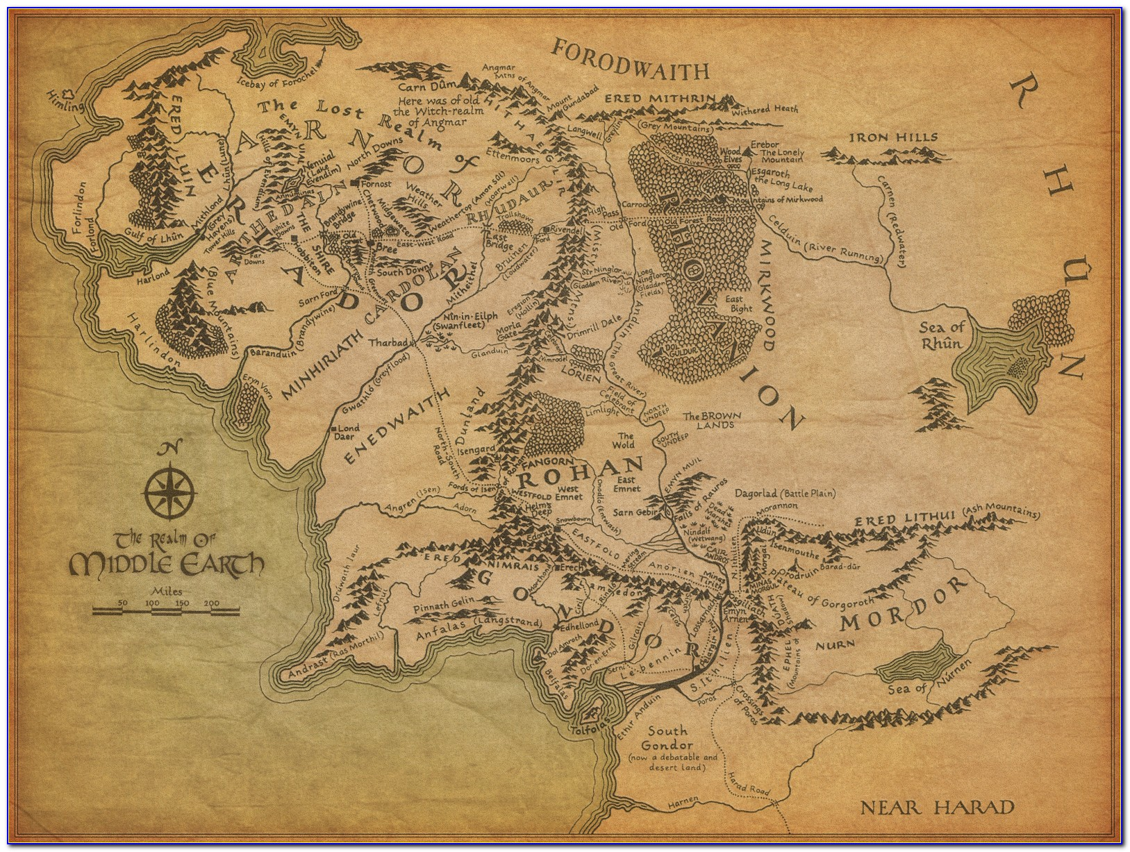 Hobbit Middle Earth Map Poster