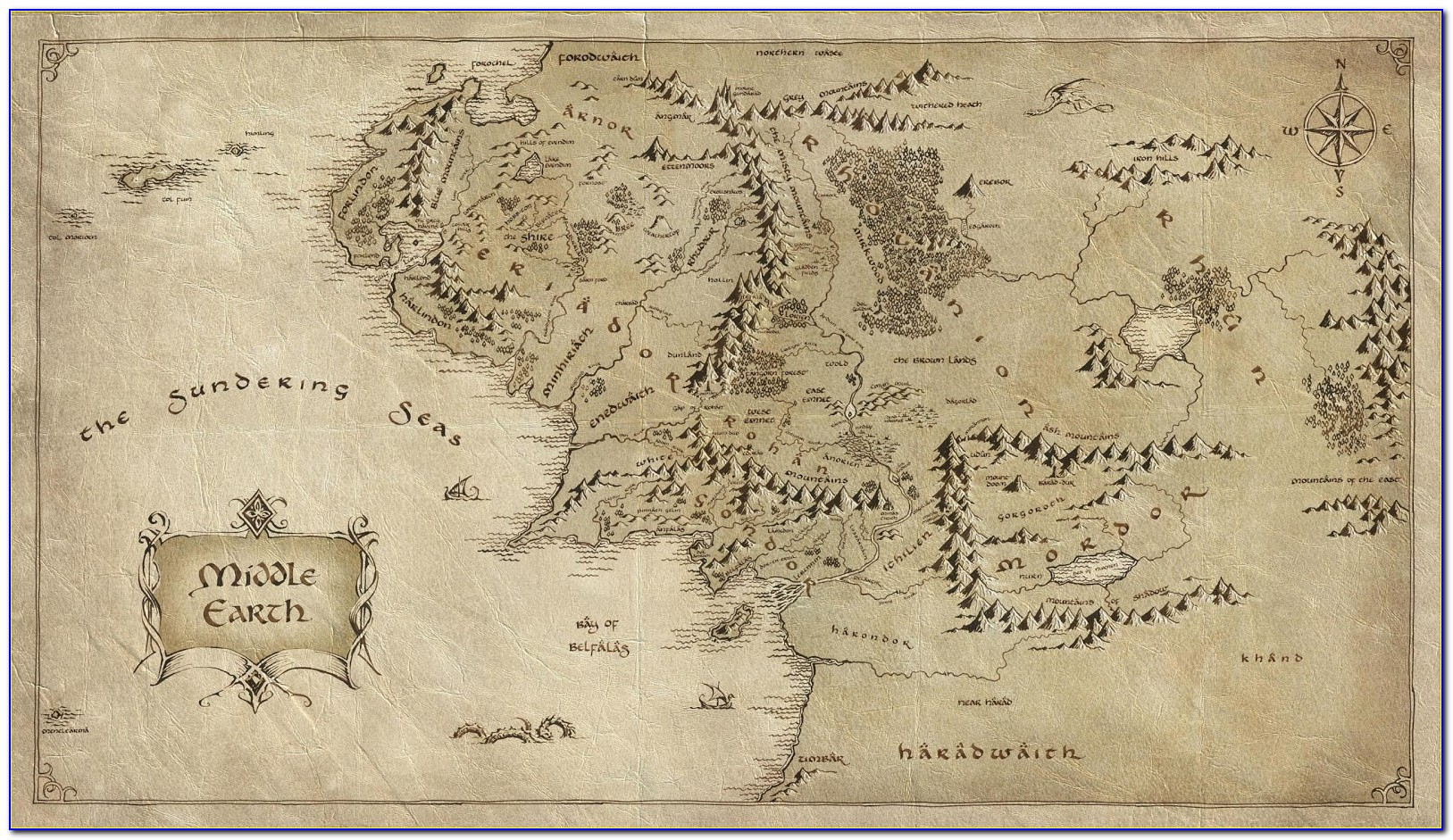 Hobbit Middle Earth Map