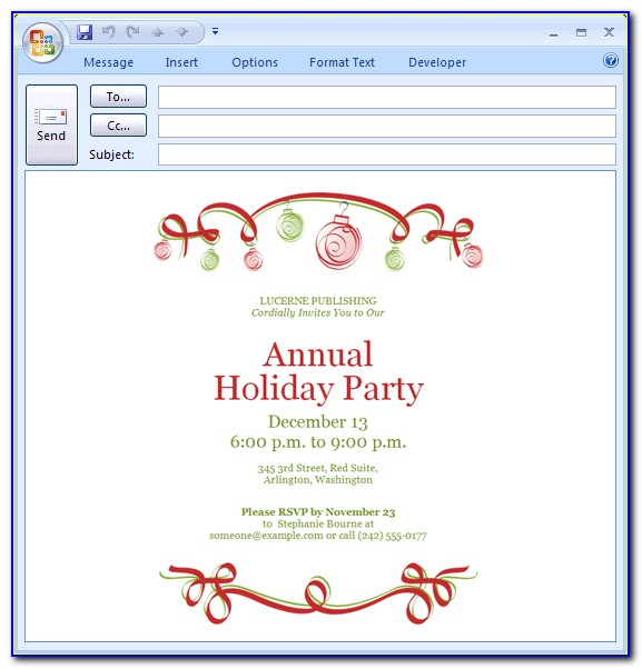 Holiday Party Email Invitation Template