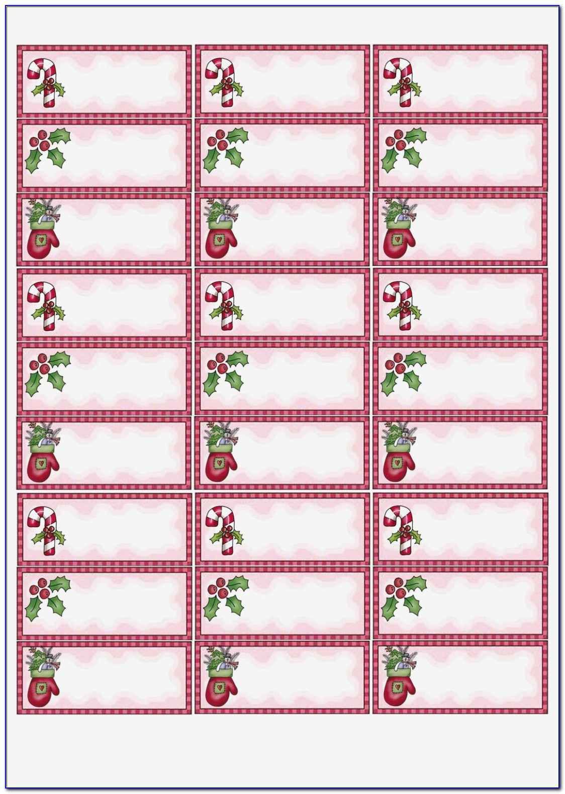 Holiday Return Address Labels Template