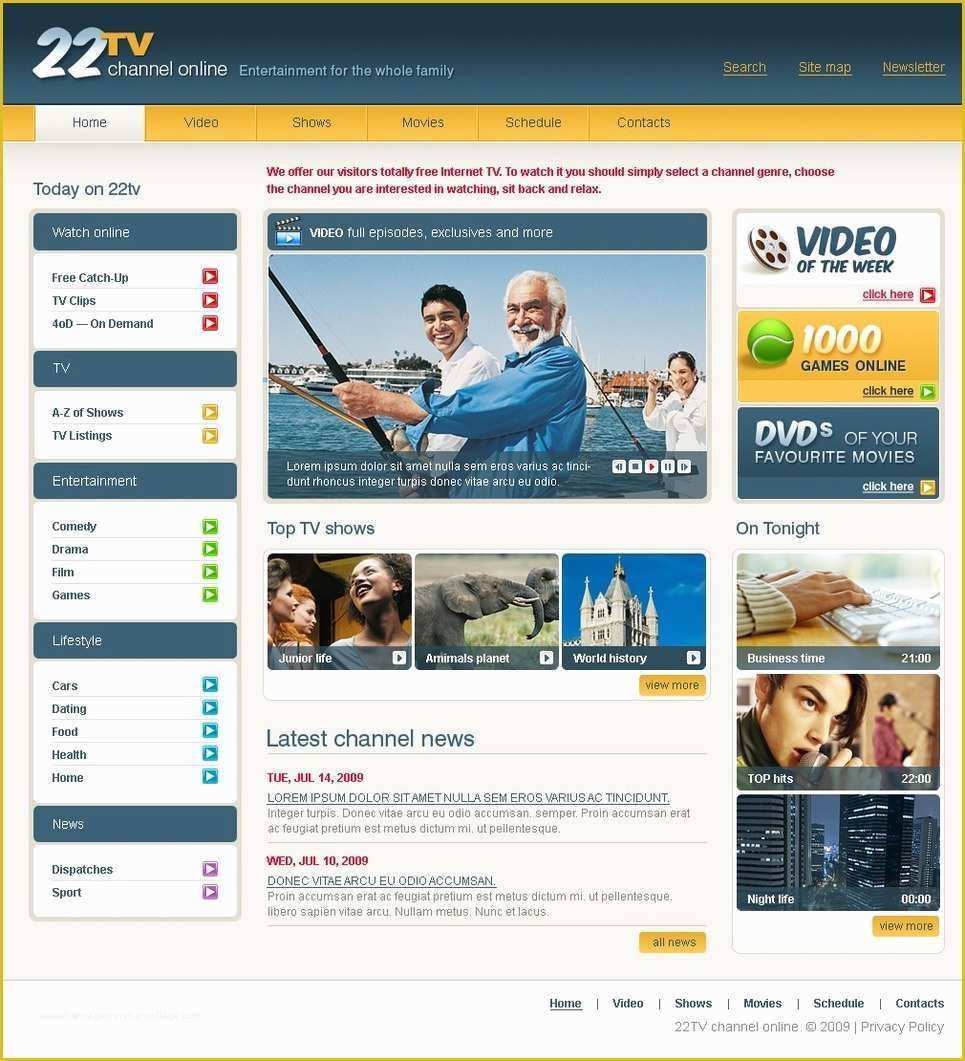 Home Appliances Website Template Free Download Of Tv Channel Website Template