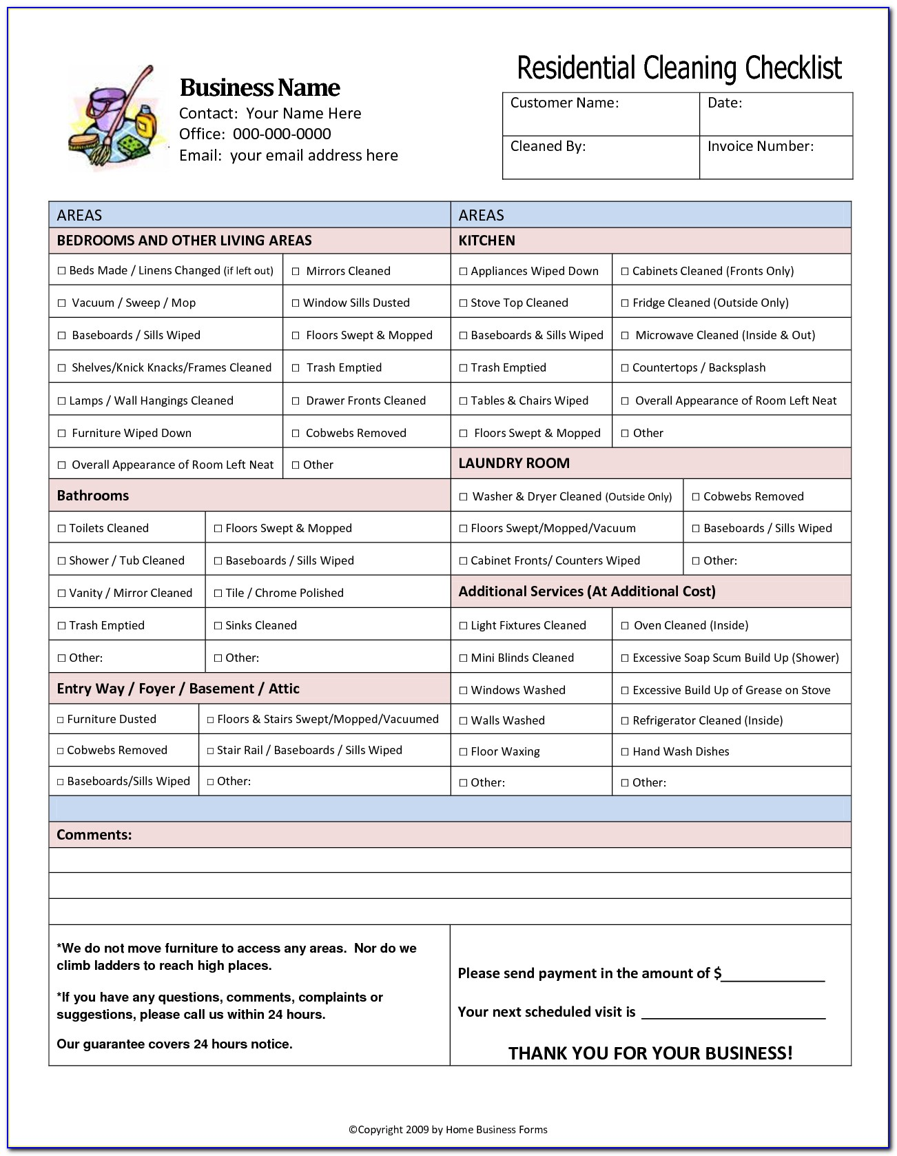 Home Cleaning Checklist Template