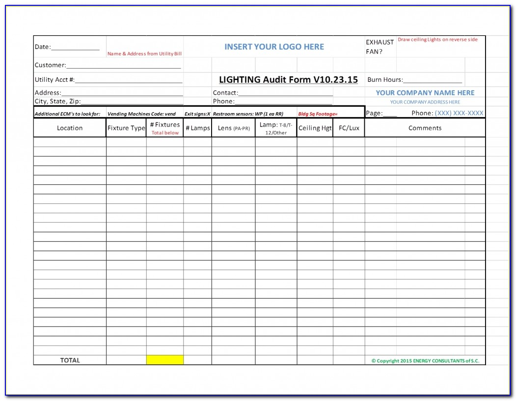 Home Energy Audit Report Template