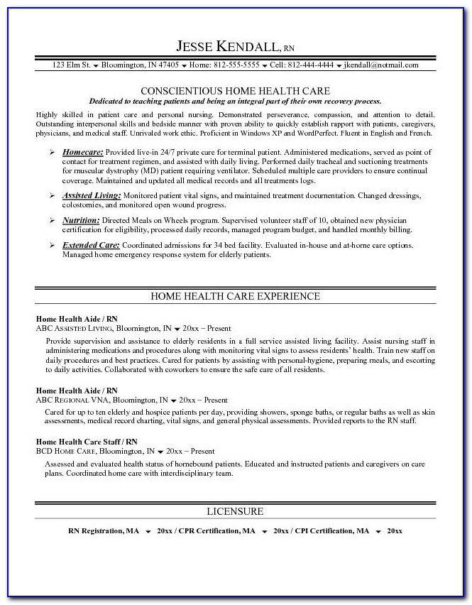 Example Home Health Care Resume Free Sample Home Health Care Resume Home Health Care Resume