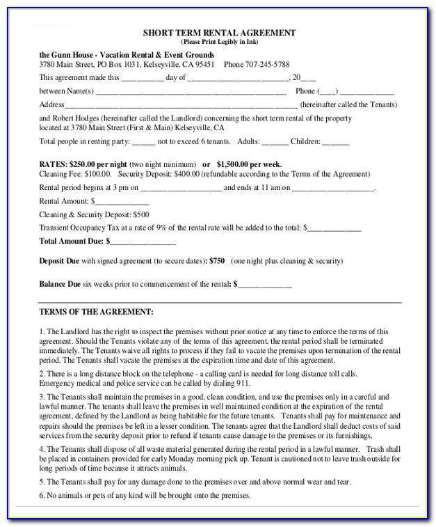 Home Rent Contract Template