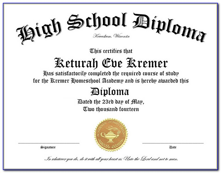 Homeschool Diploma Template Free