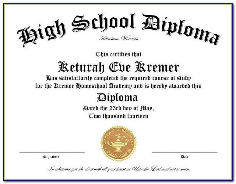 Homeschool High School Diploma Template Free
