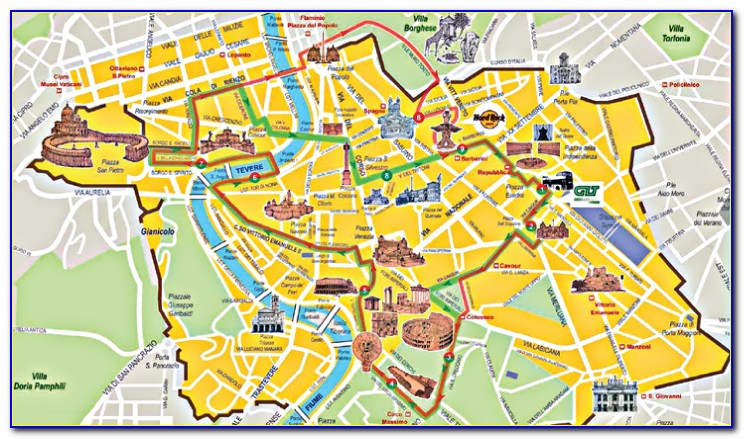 Hop On Hop Off Bus Rome Italy Map