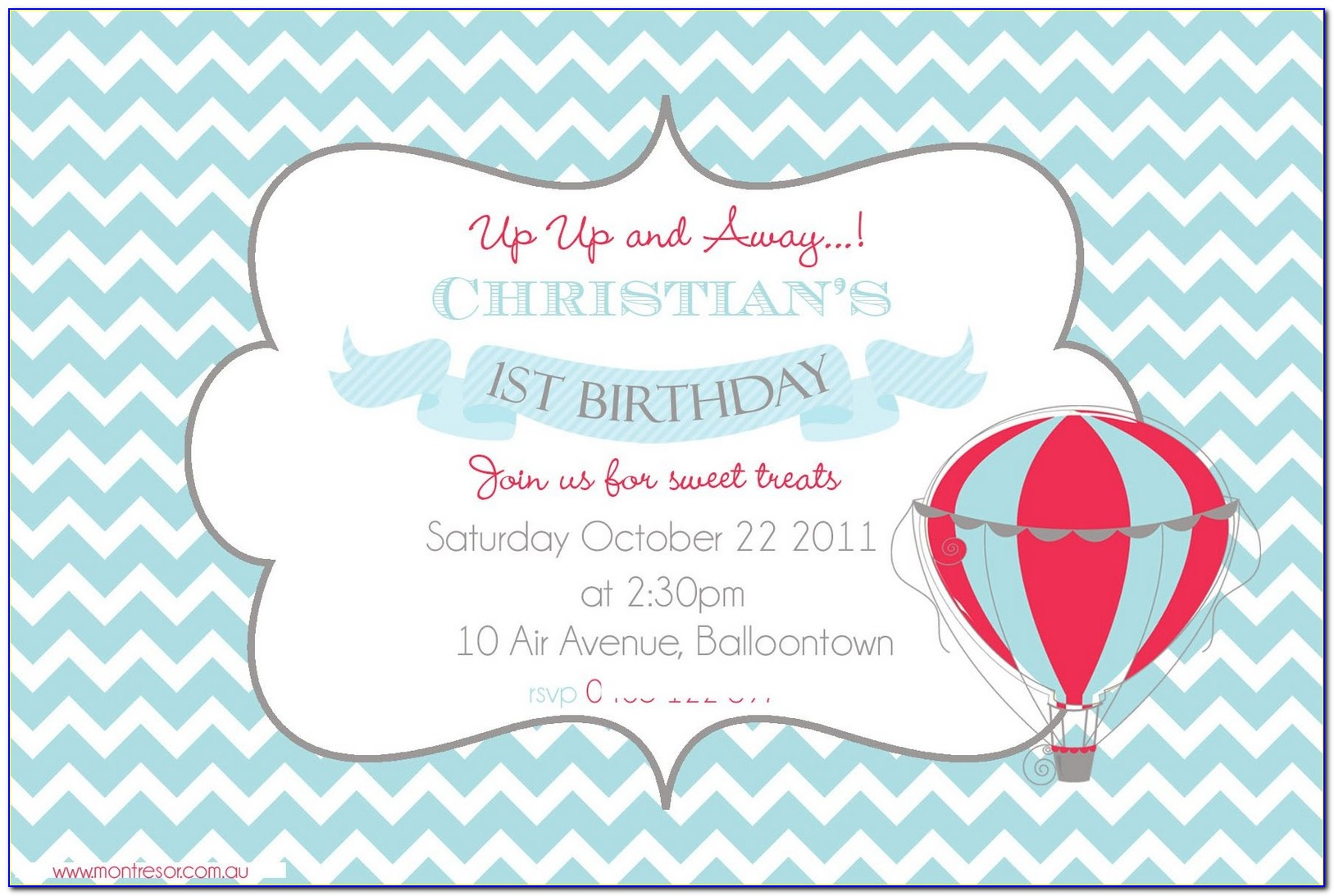 Hot Air Balloon Baby Shower Invitation Template