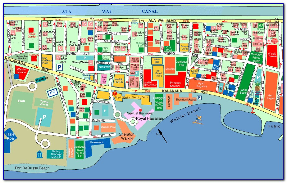 Hotels Waikiki Beach Map