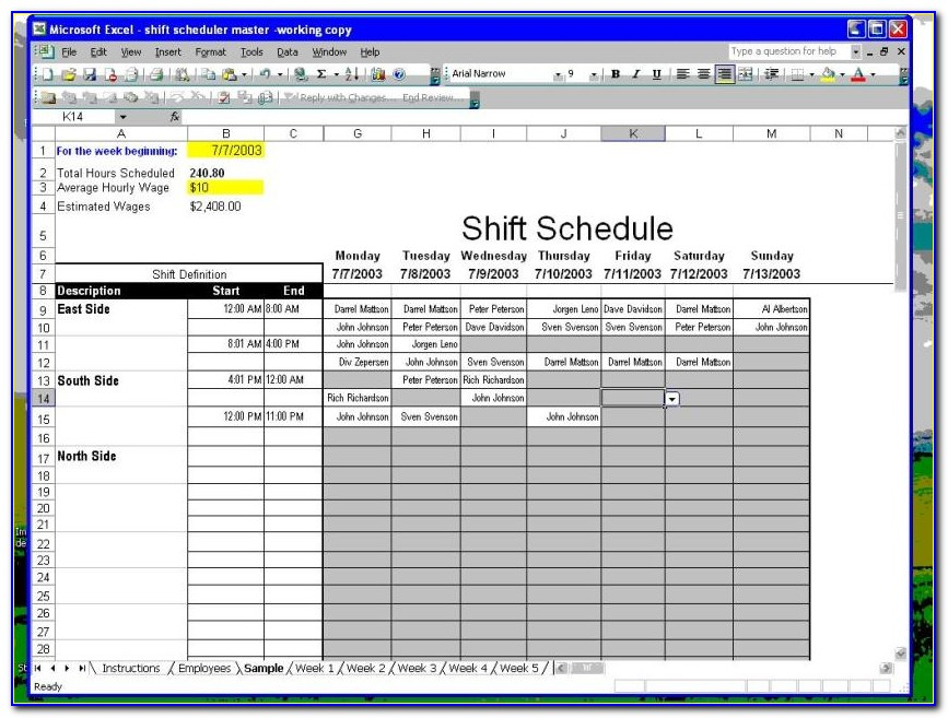 Hourly Employee Shift Schedule Template Excel