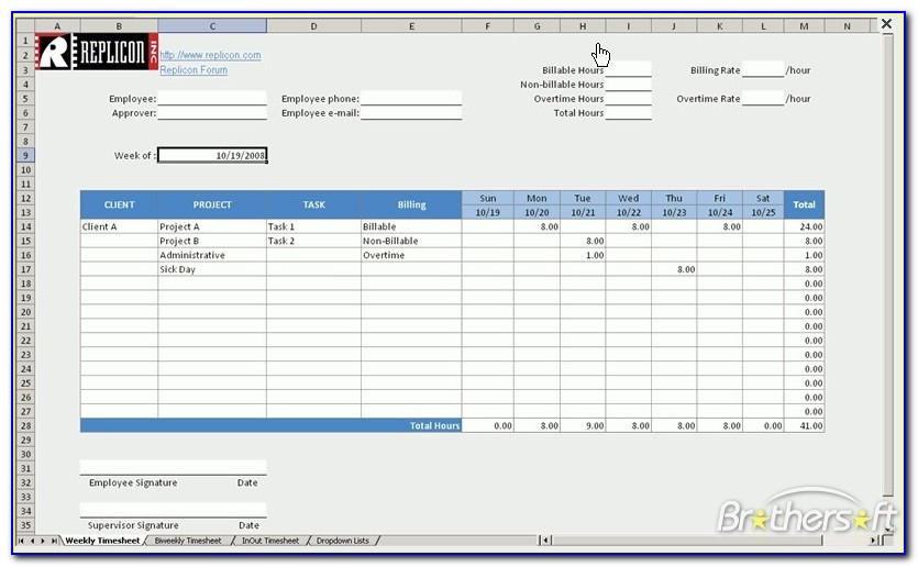 Hourly Timesheet Template Excel Free Download