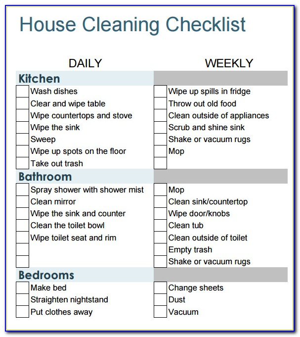 House Cleaning Checklist Template For Maid