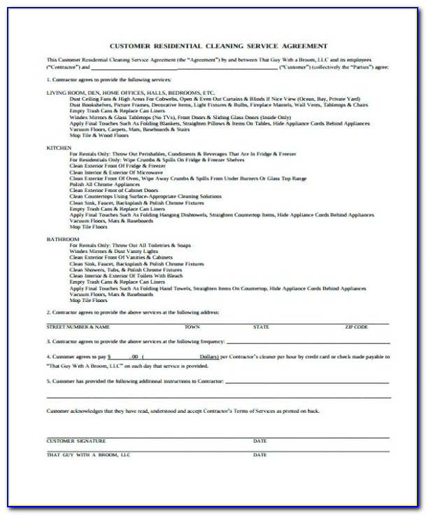 House Cleaning Contract Forms