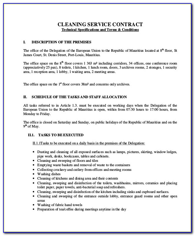 House Cleaning Contract Template Uk
