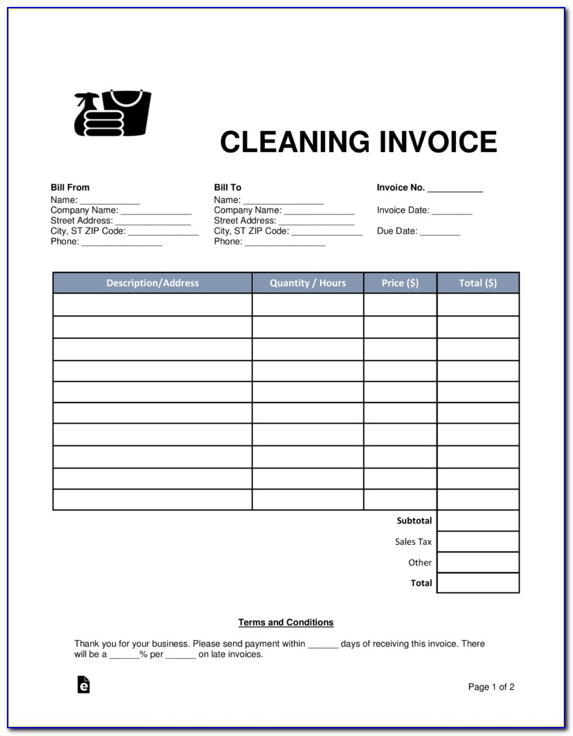 House Cleaning Invoice Template Free
