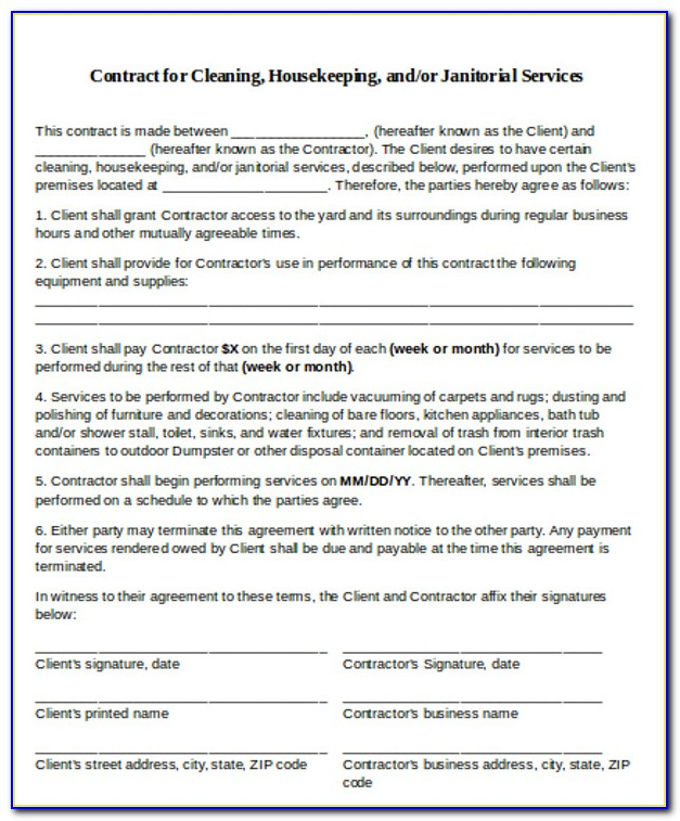 House Cleaning Service Agreement Template