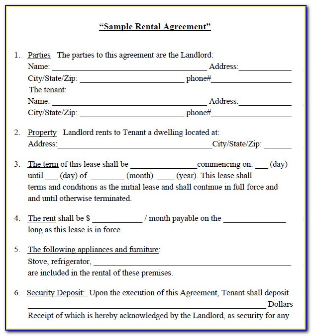 House For Rent Agreement Forms