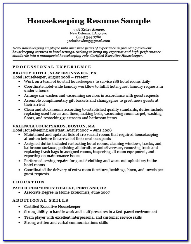 Housekeeping Supervisor Resume Template