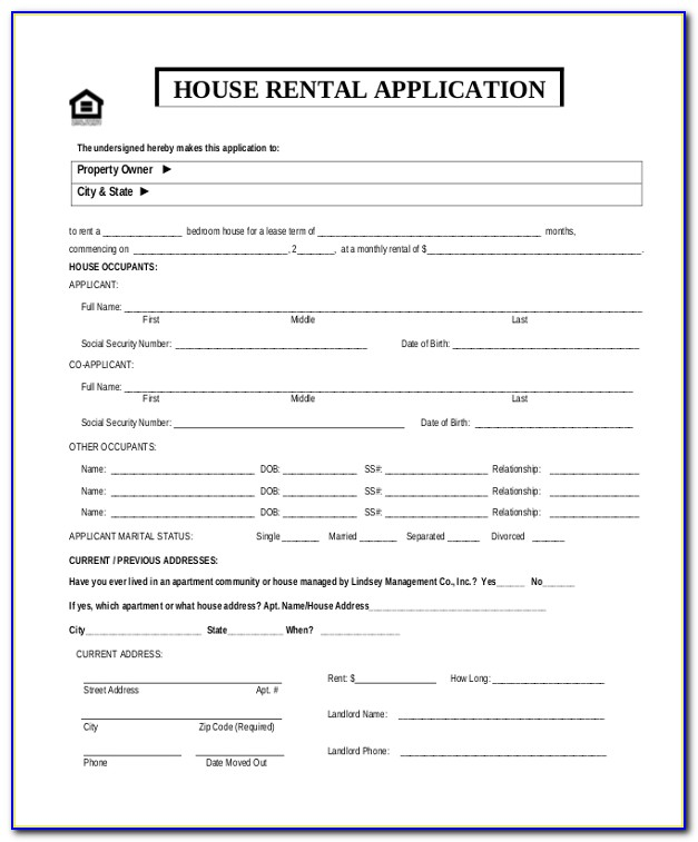 Housing Rental Application Template