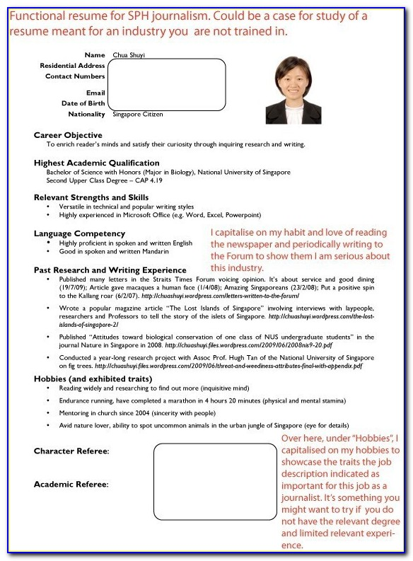 How To Write A Resume Singapore Sample
