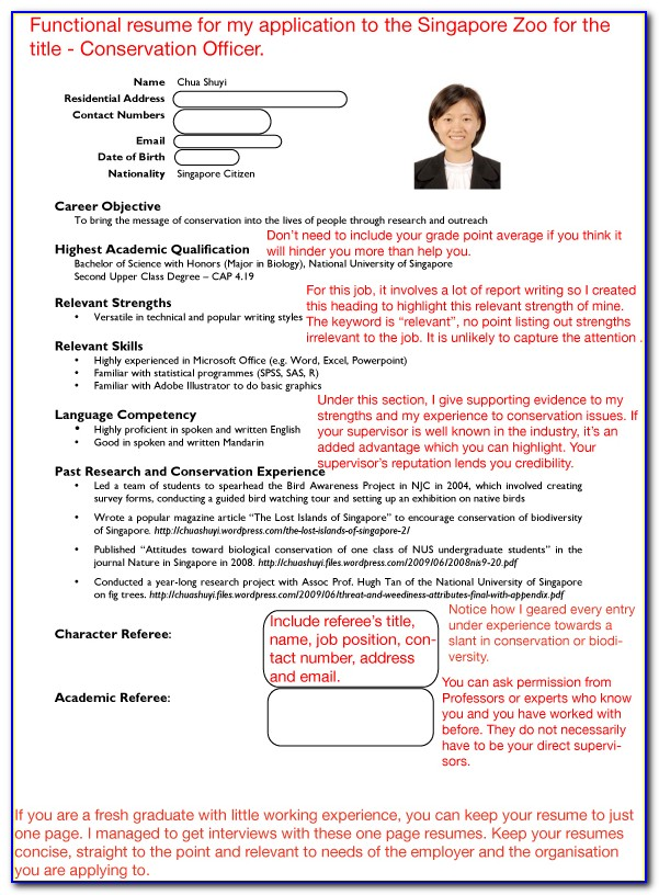 How To Write A Resume Singapore Student