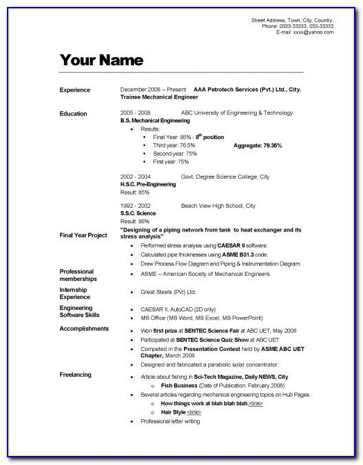 How To Write Up A Simple Resume
