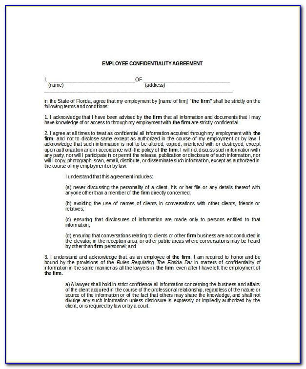 Hr Confidentiality Agreement Template